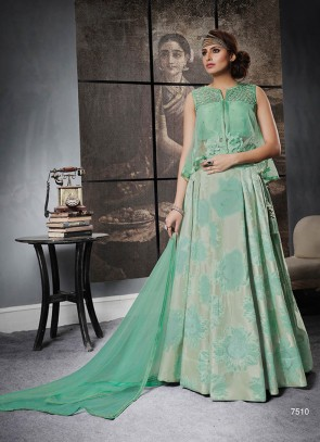 Green Shade Silk Jacquard Wedding Lehenga