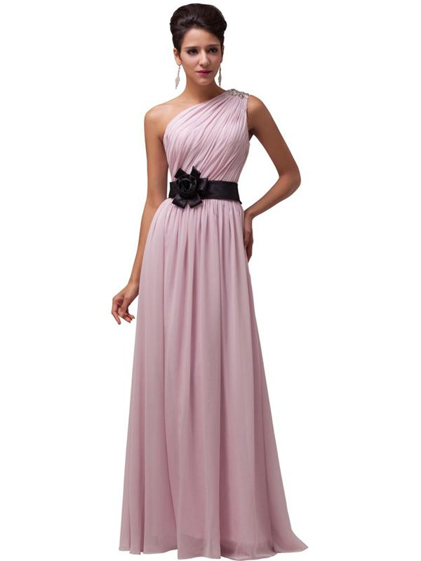 LaceShe Women's Chiffon Sleeveless Bridesmaid Dress With Belt