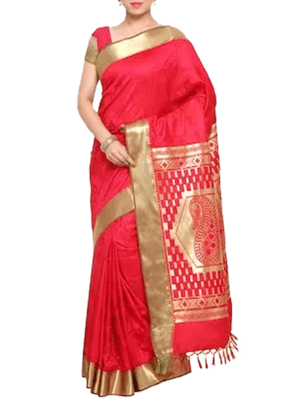 Pink Kanjivaram Art Silk Saree With Blouse
