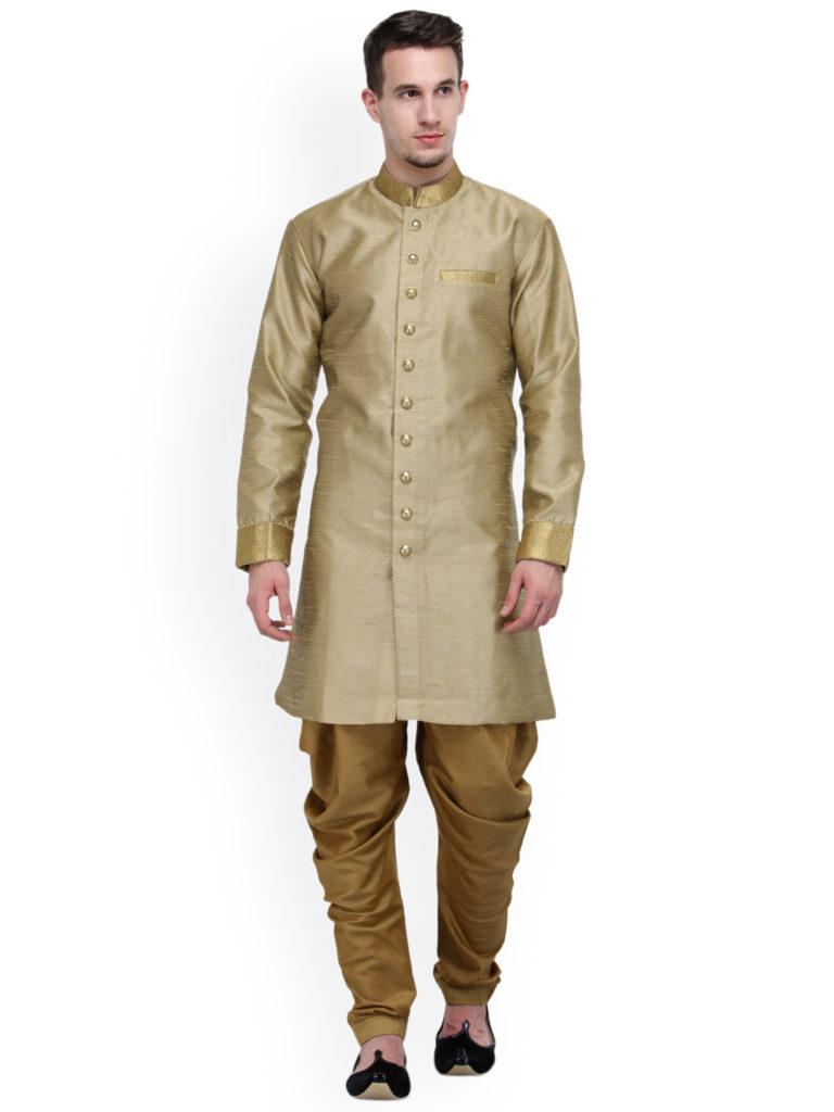 RG Designers Beige Silk Sherwani