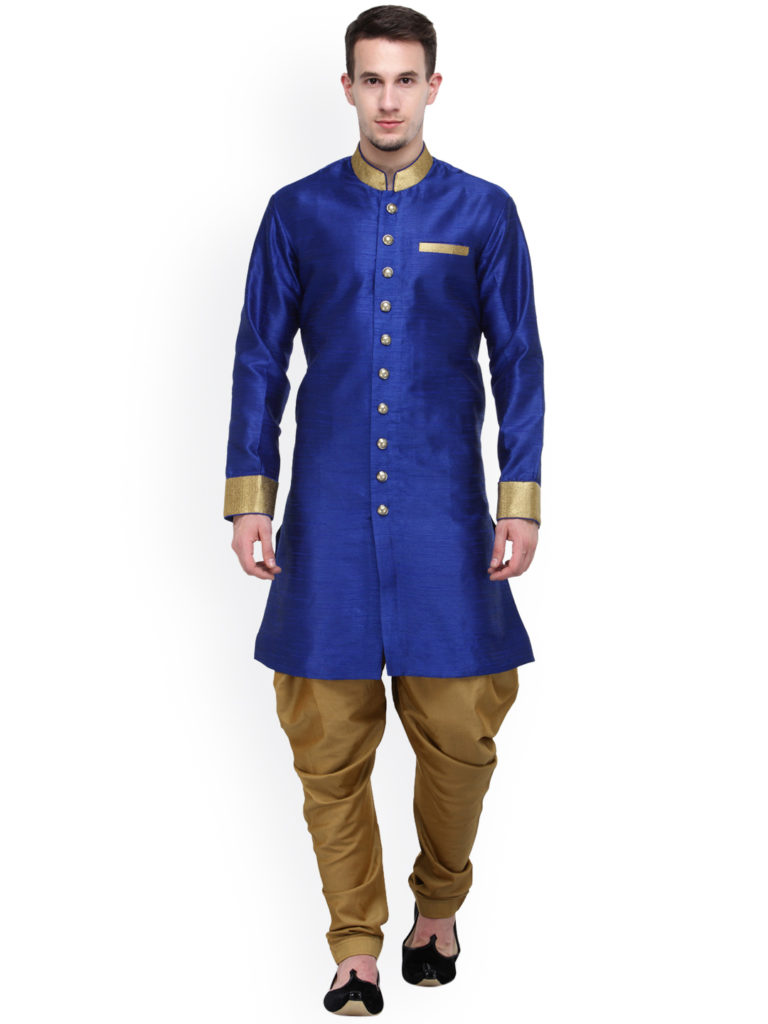 RG Designers Blue And Beige Silk Sherwani