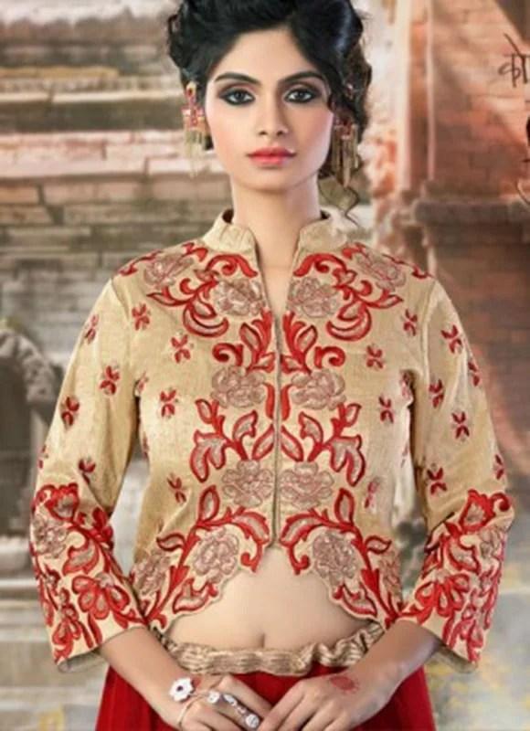 Red Embroidery Work Net Lehenga