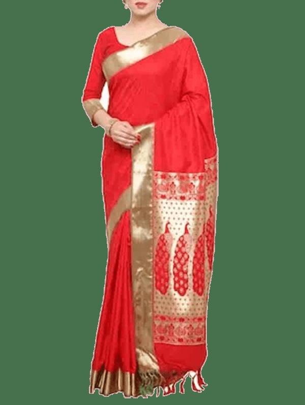 Red Kanjivaram Art Silk Saree With Blouse