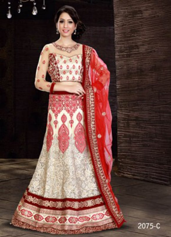 White And Red Wedding Lehenga