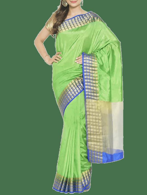 Zari Bordered Art Silk Saree With Blouse