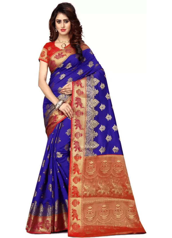 Shoppershopee Embroidered Paithani Banarasi Silk