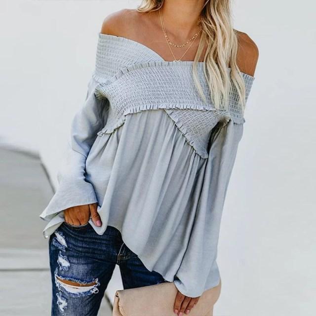 Elastic Off Shoulder Long Flare Sleeve Plain Pleated Loose T-Shirts