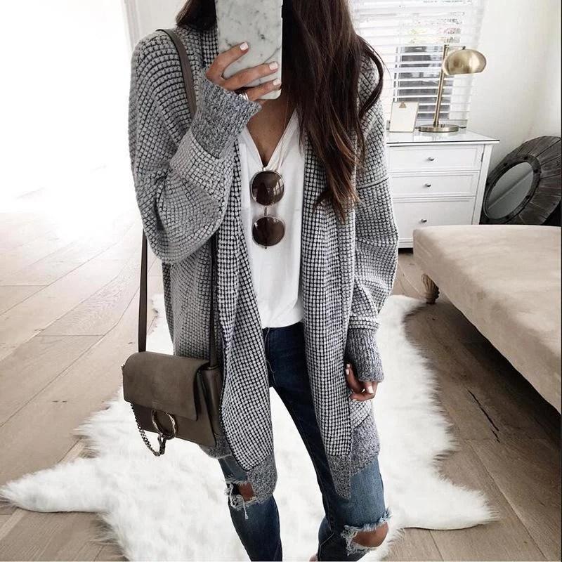 Fashion Plaids Long Sleeve Cardigans