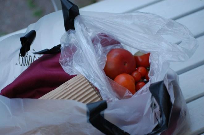 Hon var så rar och gav oss egenodlade tomater