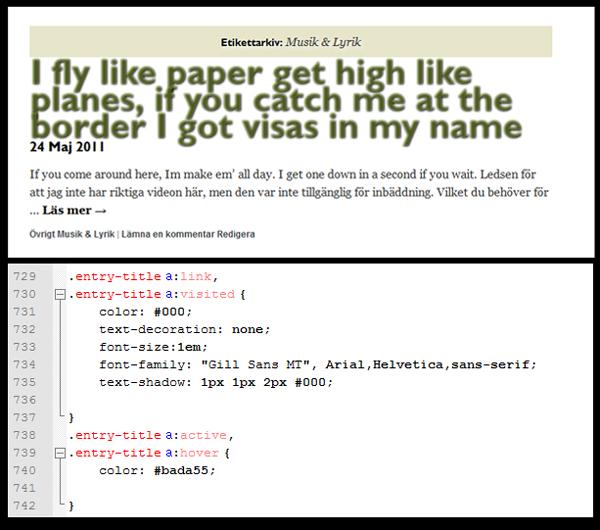 Resultat i rgba, alpha 0.4. Med text-shadow