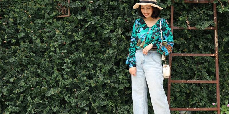 【Outfit】法國品牌Sezane Erica Blouse開箱穿搭!很有復古花卉感的綠色雪紡襯衫