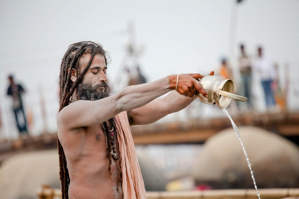 Bathing and Rituals of Naga Baba at Maha Kumbh Mela