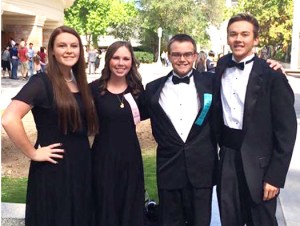 From left to right are Audrey Oldroyd, Lydia Madsen, Abraham Bunting and Brenden Blackham, three of North Sanpete High's choir students who attended the all-state choir event at the Salt Lake Tabernacle.