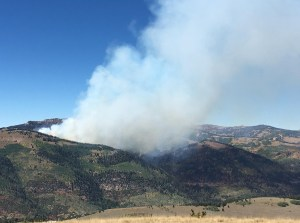 Smoke could clearly be seen from U.S. 89 in North Sanpete after lightning ignited a forest fire east of Spring City in the mountains of the Manti-LaSal National Forest. - Photo courtesy Forest Service