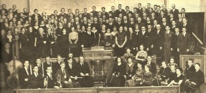 1935 Messiah performance by the Sanpete and Snow College Community choir and orchestra at the Manti Tabernacle.  Harry Dean, the musical program's creator can be seen in the center, behind the podium. - Photo courtesy Jerry Dahl