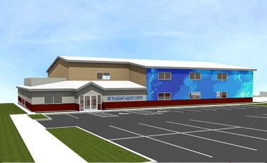 Rendering of the Mt. Pleasant Aquatic Center. Although construction of the center is funded, Mt. Pleasant City has placed a referendum on the November ballot asking residents if they favor utility franchise fees to support year-round operation of the facility.