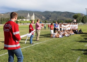 Manti High School Principal George Henrie, the Lady Templars Soccer Team and Student Body Officers helped kicked off the ribbon cutting ceremony to help commemorate the new soccer field at Manti High.
