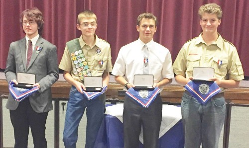Four boys received the rank of Eagle Scout in Troop, Team and Post 1642, sponsored by the LDS Mt. Pleasant 5th Ward. From left to right: Jacob Sparks, Tom Jones, Ben Andersen and Simon Quinn. Hats off to Loyce Schuhmann, who, as the Eagle Scout finisher for the past 10 years, has been instrumental in helping many scouts achieve this rank.