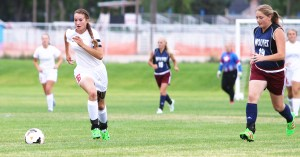 Jamie Bawden, (left) shown here in an earlier game, was one of three Templars to score two goals in Manti's 7-1 win over Emery.