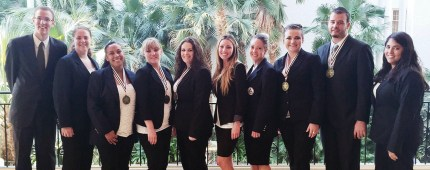 Snow College nursing students who attended a conference in Nashville, Tenn. sponsored by the Health Student Occupations of America included (L-R) Braden Berrett, Brooke Lamb, Ashley White, Roxy Jolley, Kiley Shepherd, Taylor DeLaura, Kirsten Peterson, Autumn James, Lonny Krause and Cheyenne Ramone.