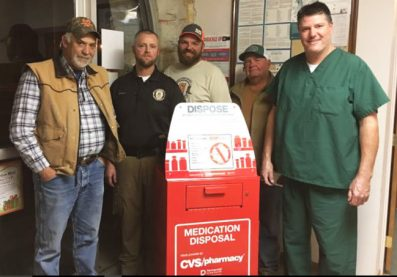 Centerfield City leaders stand behind the city's new Drug Collection Unit. Pictured are (L-R): Councilman Dan Dalley, Centerfield Police Chief Brett McCall, Councilman Jaden Sorenson, Councilman David Beck and Mayor Tom Sorensen. - Photo courtesy Centerfield City