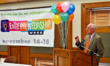 """Snow College President Gary Carlston told students and faculty to """"think differently"""" and embrace entrepreneurship opportunities at the opening of the school's Entrepreneurship Week."""
