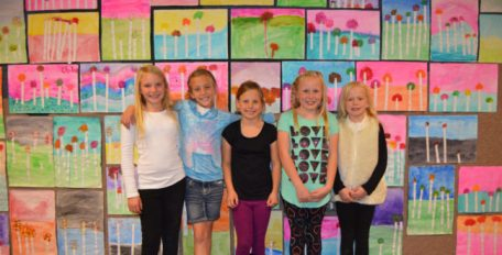 Fountain Green Elementary fourth-graders (left to right) Paitlyn Mahedy, Kaylese Cook, McKinlee Roach, Maci Madsen and Hattie Corry say they love the school's art specials and showing off their masterpieces. - Daniela Vazquez / Messenger photo