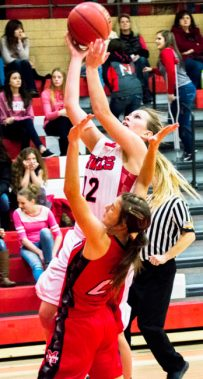 Junior Catherine Lund drives past defense during the Lady Hawks game against Manti last Friday. North Sanpete dominated the Lady Templars, 66-26. - Kyler Daybell / Messenger photo