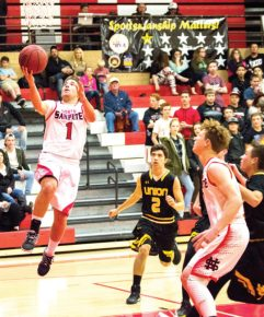 Sophomore Shawn Taylor went skyward for two in the Hawks game against Union, which North Sanpete lost, 56-41. The Hawks finally got their first win of the season against North Sevier last Saturday. - Kyler Daybell / Messenger photo