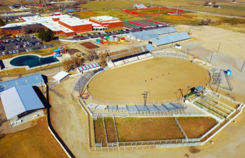 Mike Bennett, Sanepte County Fair Board chairman, told the county commission last week that aging  fairgrounds bleachers, seen in this aerial photograph, could be replaced by seating from a deconstructed, out-of-state NASCAR track.