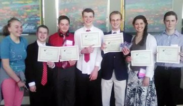 Manti High School students came away with several awards from the state FBLA competition. From left, Vivianne Leers, Joseph Nelson, Adian Larsen, Tyler Boherer, Kyler Nelson, Kjerstan Birch and Preston Thomas. Not pictured: Brandon Shelly.