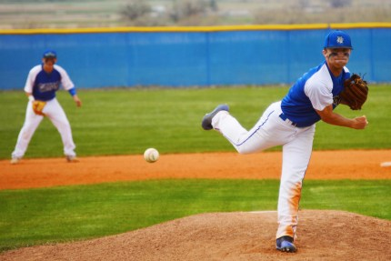 Bulldogs' senior Drew Hill pitches against North Sevier during a game this week. Hill pitched in the first game of the doubleheader and struck out eight batters in the win.