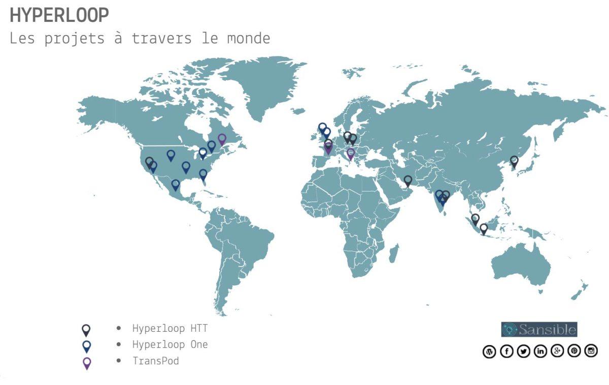 Carte des projets d'Hyperloop dans le monde #sansible #hyperloop #map #transports #innovation