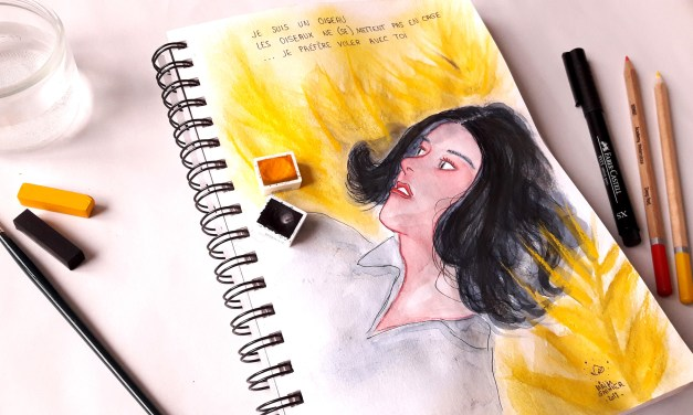 Aquarelle Flying with you, sketchbook illustrations
