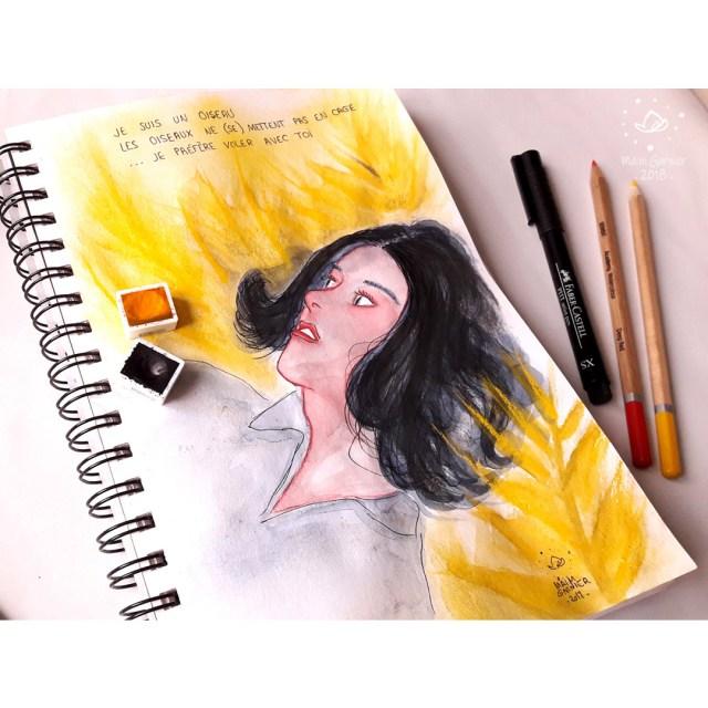 Flying with you, art by Maïm Garnier. Ink, watercolour and pastel. Sketchbook. #inktober #inktober2018 #drawingchallenge #characterdesign #illustrationartists #sketches #jakeparker #watercolourartist #illustrationcharacterdesign #illustrationart #artinspiration #MaimGarnier #summerart #creativeprocess #summer #inktoberart #breakable