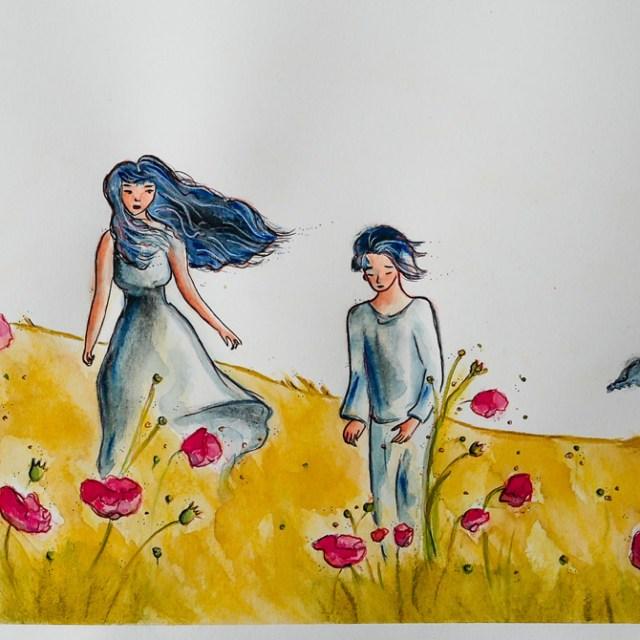 Poppies'day, art by Maïm Garnier. Ink, watercolour, pastel. Summer vibes. Watch my video on ma YouTube channel. #inktober #inktober2018 #drawingchallenge #characterdesign #illustrationartists #sketches #jakeparker #watercolourartist #illustrationcharacterdesign #illustrationart #artinspiration #MaimGarnier #summerart #poppies #creativeprocess #summer #inktoberart