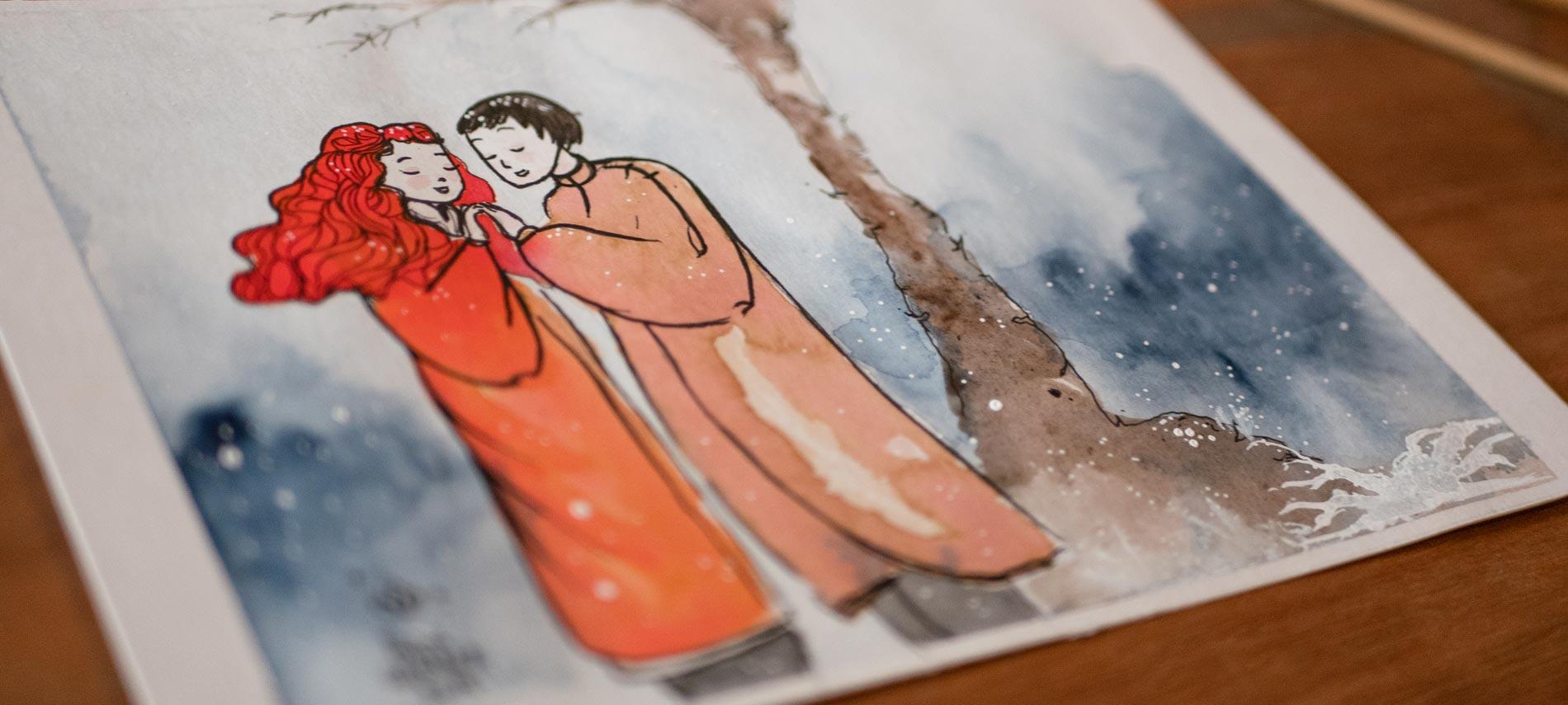 Rencontre des amoureux, Chant d'Hiver, art de Maïm Garnier, plus d'art et détails à découvrir sur Sansible. #aquarelle #illustration #characterdesign #artinspiration #MaimGarnier #sansible #neige #amoureux