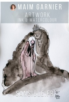 The Whisper and the girl, illustration by Maïm Garnier. Mixed media art, ink, watercolours. #inktober #inktober2018 #characterdesign #illustrationartists #watercolourartist #illustrationcharacterdesign #illustrationart #artinspiration #MaimGarnier #creativeprocess #inktoberart #creature #woman #care #monster #fantasyart #fantasyillustration
