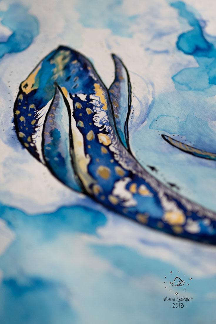 Baleine en plongée sous-marine, Chants de l'eau, illustration imaginée par Maïm Garnier. Aquarelle, encre, pastel, posca. Inktober 2018. La baleine est une magnifique créature aquatique. Davantage de créations à découvrir sur Sansible. #sansible #MaimGarnier #aquarelliste #mixedmedia #inktober #inktober2018 #baleine #nager #creature #aquatique #ocean #mer #dessin #artinspiration #illustrationart #creation
