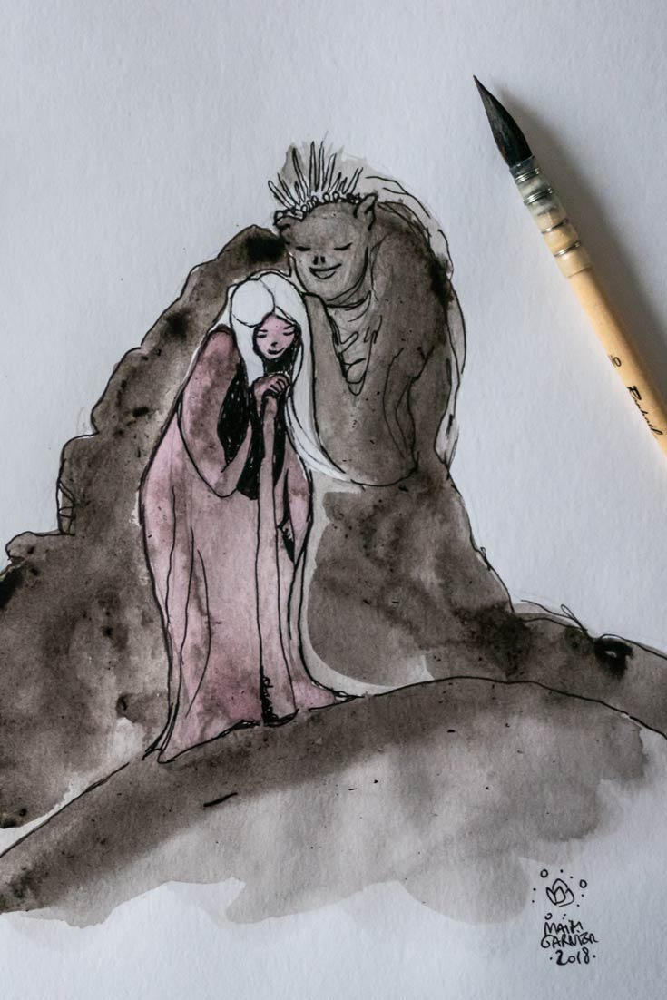 Whisper, cute monster, mountains and rocks creature caring for the girl Lea, illustration by Maïm Garnier. Nature serie. Mixed media art, ink, watercolours. More on Sansible #sansible #inktober #inktober2018 #characterdesign #illustrationartists #watercolourartist #illustrationcharacterdesign #illustrationart #artinspiration #MaimGarnier #creativeprocess #inktoberart #creature #woman #care #protection #monster #cutemonster #fantasyart #fantasyillustration