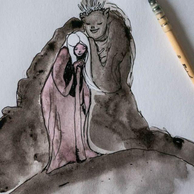 Whisper, cute monster, mountains and rocks creature caring for the girl Lea, illustration by Maïm Garnier. Nature serie. Mixed media art, ink, watercolours. More on Sansible #sansible #inktober #inktober2018 #characterdesign #illustrationartists #watercolourartist #illustrationcharacterdesign #illustrationart #artinspiration #MaimGarnier #creativeprocess #inktoberart #creature #woman #care #protection #monster #cutemonster #fantasyart #fantasyillustration