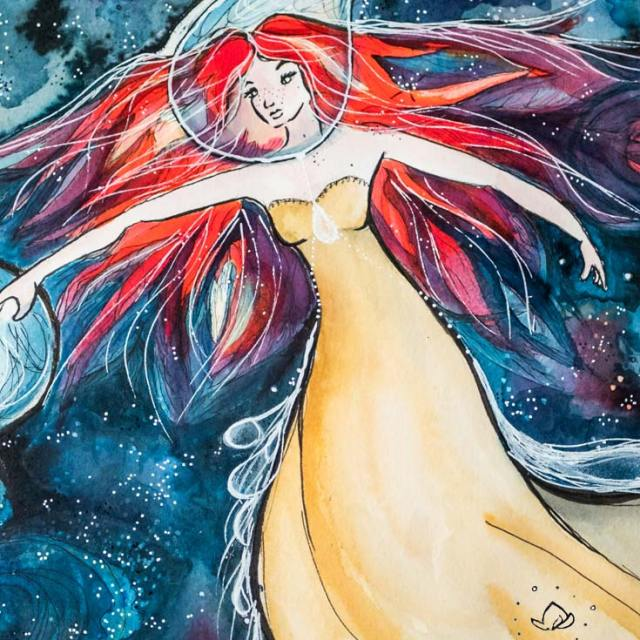 Ether, Songs from space, illustration imagined by Maïm Garnier. Watercolour, ink, pastels, posca. Inktober 2018. Woman in space. More creations to discover on Sansible. #sansible #MaimGarnier #watercolorartist #mixedmedia #inktober #inktober2018 #star #space #planet #spatialart #drawing #artinspiration #illustrationart #creation #galaxyart #breathe #ether