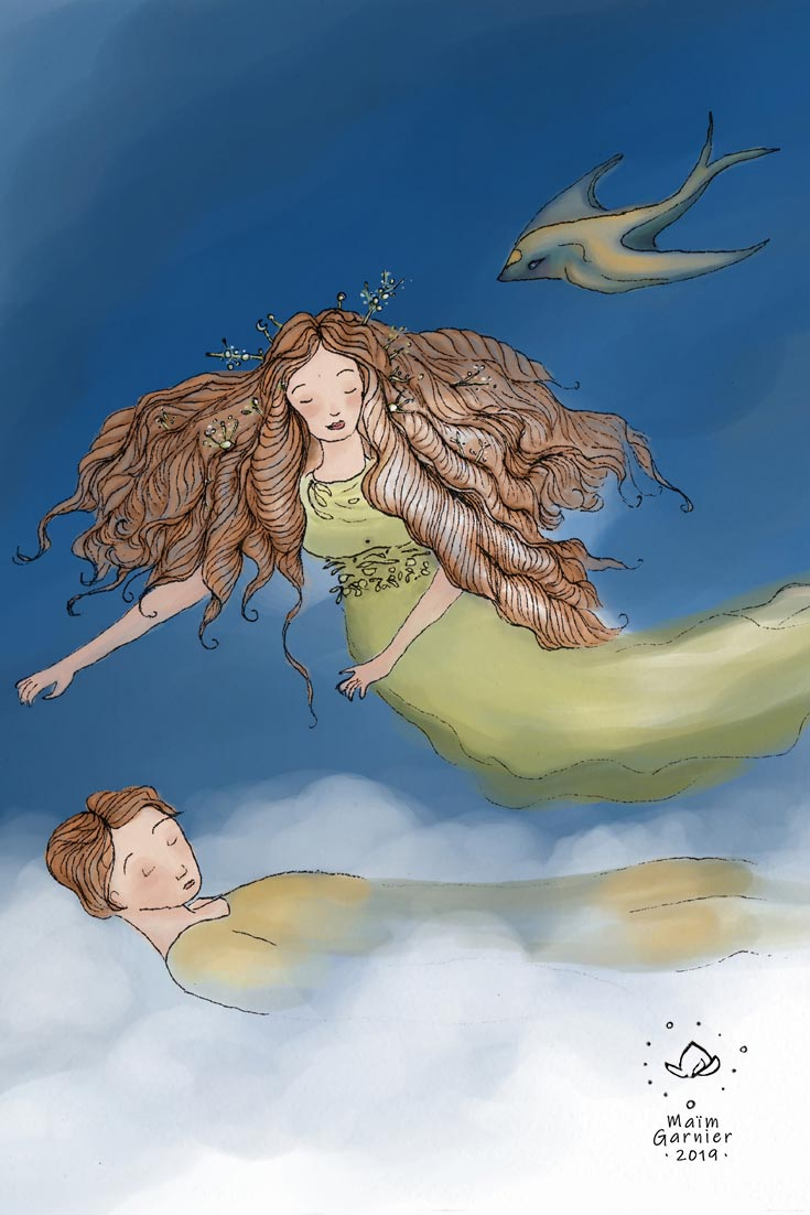 Danaé et Uranus endormi. Danaé est une sorcière de la nature. Art inspiré de la mythologie grecque et des mondes imaginaires. Version aquarelle digitale. Une hirondelle-dauphin les accompagne. D'autres illustrations et peintures de Maïm Garnier sur Sansible. #MaimGarnier #sansible #illustratrice #illo #illustrated #fantasyart #talesart #naturelove #drawing✏ #dessin #illustration #creativeprocess #aquarelle #watercolorartist #characterdesign #illustrationartwork #mythologiegrecque #conceptart #digitalpainting #sorciere #witchart