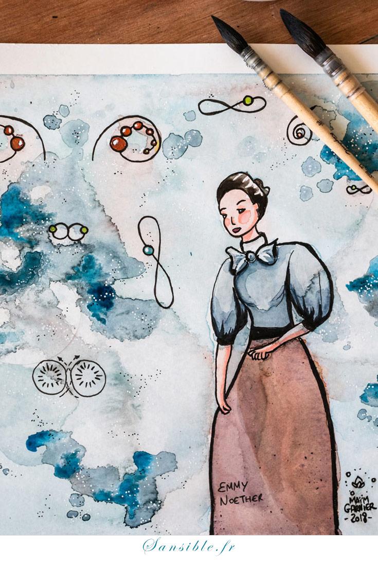Emmy Noether est une mathématicienne allemande du début du 20e siècle, au dire d'Albert Einstein lui-même, une géante des mathématiques. A partir d'avril 1933, sa situation devient critique dans son pays. Une histoire à découvrir dans la vidéo YouTube de Scientificfiz #science #art #MaimGarnier #EmmyNoether #aquarelle #peinture #illustration #sansible