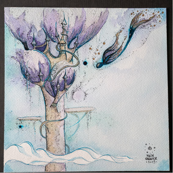 The Tower of Esperia, on the clouds, ink and watercolours art piece by Maïm Garnier, illustration inspired by a Dominique Poulain Nimentrix' tale. #MaimGarnier #Esperia #art #watercolours #illustration #watercolorart #watercolorartist #fantasyart #magical #whimsical #phenix
