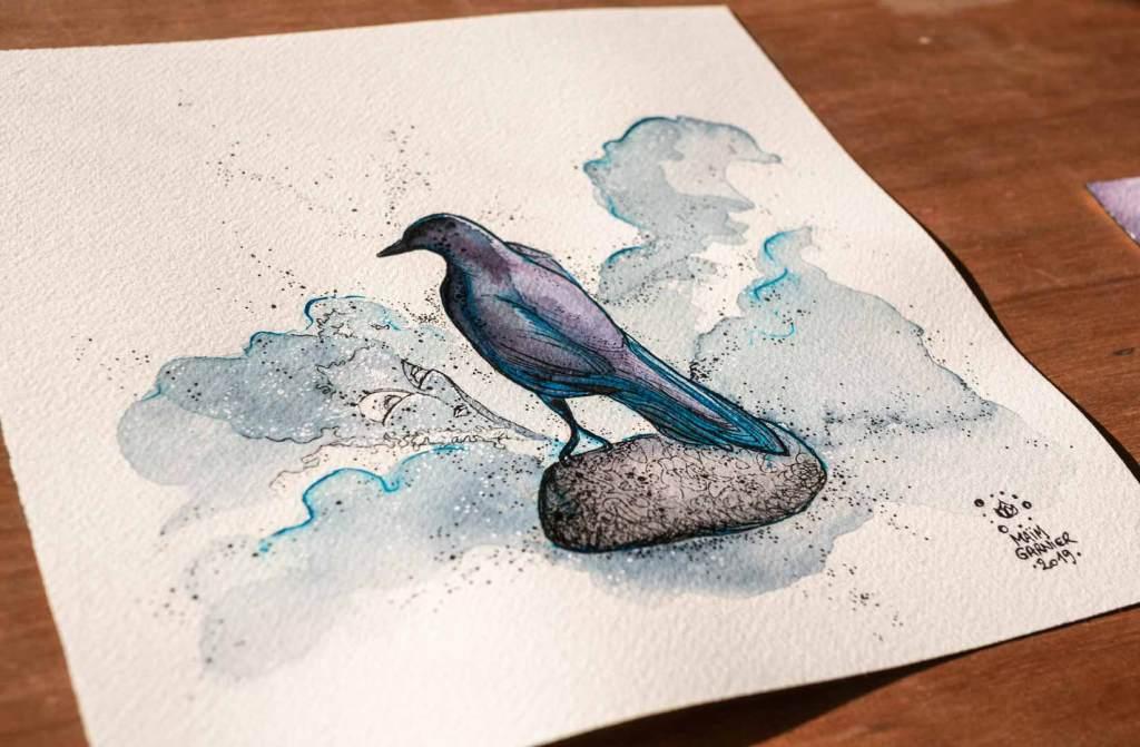 The Bird Statue. #Esperia serie, new art piece, ink and watercolor #illustration for a Dominique Poulain (Nimentrix) story. #aquarelle #watercolorartists #illust #fantasyartwork #MaimGarnier #inktober2019 #inktober #bird #magic