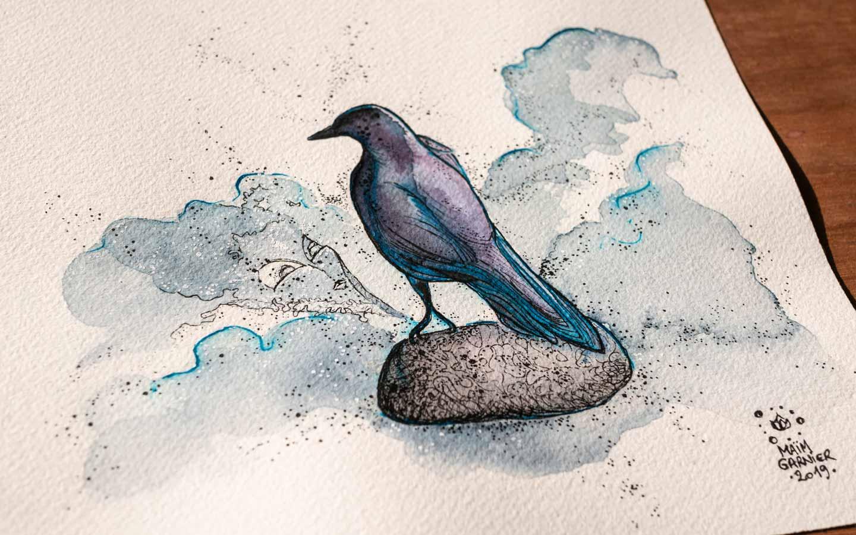 The Bird Statue, série Esperia, encre et aquarelle par Maïm Garnier, illustration d'une histoire de Dominique Poulain Nimentrix #MaimGarnier #Esperia #art #aquarelle #illustration #watercolorart #watercolorartist #fantasyart #bird #magic