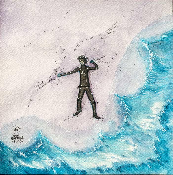 """Cast Away, """"Le naufragé"""", série Esperia, encre et aquarelle par Maïm Garnier, illustration d'une histoire de Dominique Poulain Nimentrix #MaimGarnier #Esperia #art #aquarelle #illustration #watercolorart #watercolorartist #castaway#magic"""
