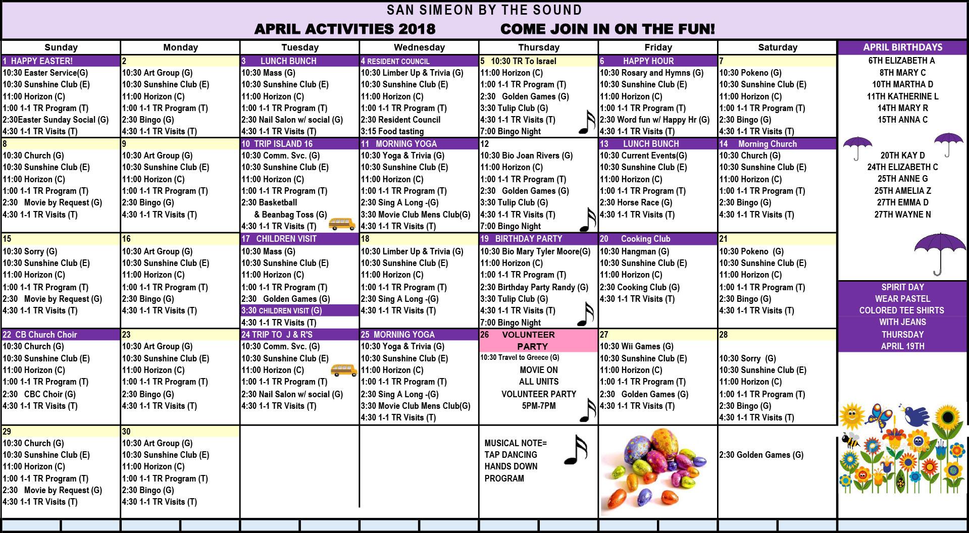 April Calendar of Events