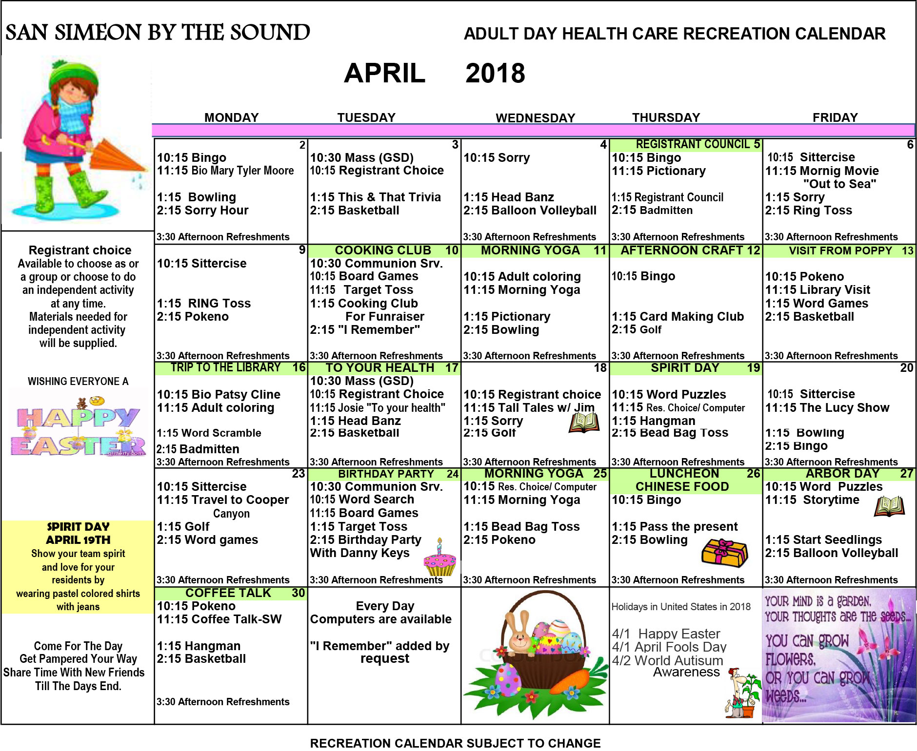 April Day Care Calendar of Events